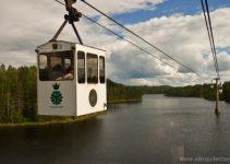 funicular atravesando el lago