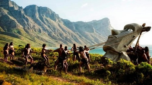 ilustración de Rapanui alzando un Moai